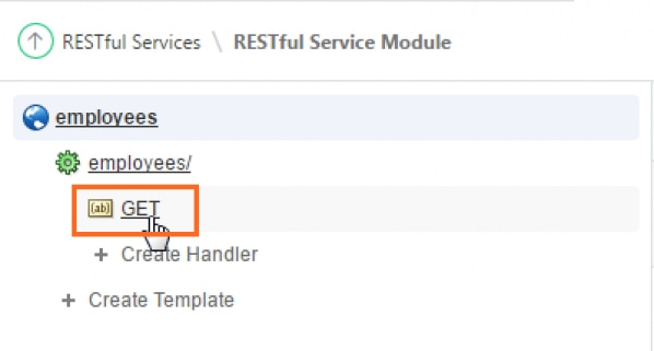 The GET Handler created under employees/