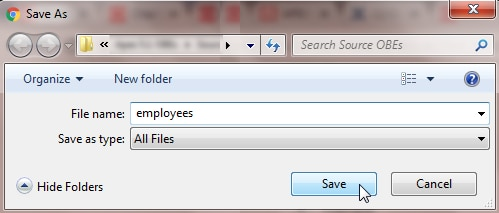 Saving the file