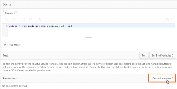 Clicking Create Parameter