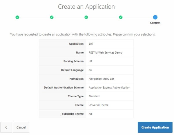 Clicking Create Application