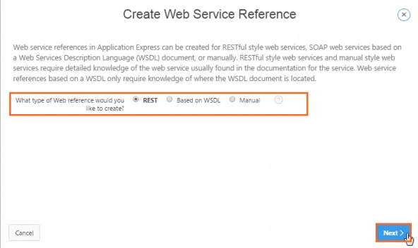 Selecting REST for the type of web reference